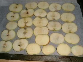 enfourner à mi hauteur à 100°C et surveiller la cuisson <p>les rondelles de pommes doivent dorer légèrement
