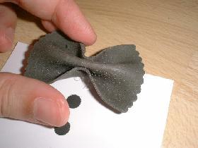 et y déposer la farfalle noire en guise de noeud papillon