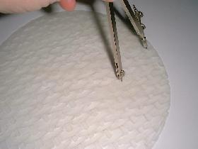 tracer un cercle de même rayon sur la galette de riz